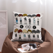 Hot Gifts MAMA Pop Boy Group Kpop EXO Twelve Members Square Two Sides Printed Cotton Polyester Blend Pillow Case Cushion Cover