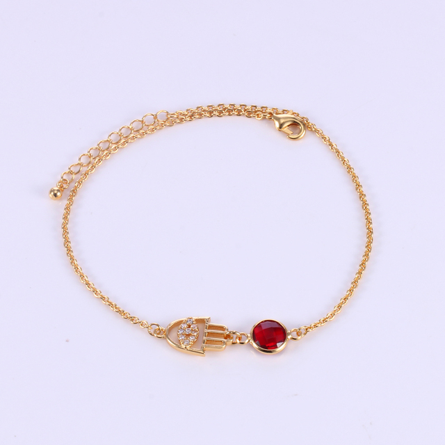 Hamsa Hand Bracelet Custom Personalized 12 Month Birthstone Charm Bracelet for Women Mother Birthday Gift Amulet Jewelry