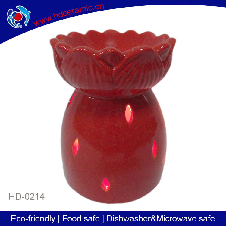 lotus agora shape tealight oil burner,red ceramic aroma candle oil burner