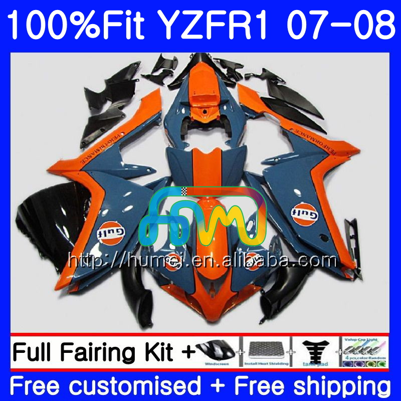 Injection Body For YAMAHA Blue Orange YZF <strong>R1</strong> 07 08 YZF-<strong>R1</strong> 2007 <strong>2008</strong> 90HM39 YZF1000 YZFR1 YZF-1000 YZF 1000 R 1 07 08 Fairings