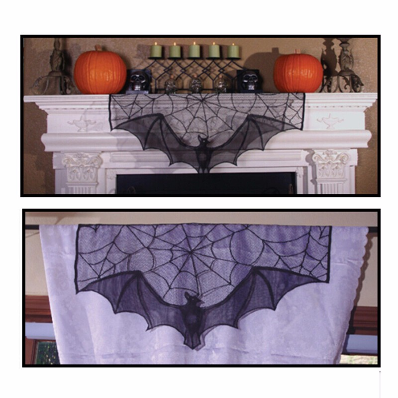 Halloween decoration lace bat curtain valance Lamp Shape mantle scarf 93x57cm newly