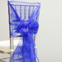 Fancy organza various color banquet chiffon chair sash for wedding chair cover decoration
