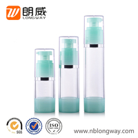 15ml 30ml 50ml cosmetic empty pump top airless plastic bottle