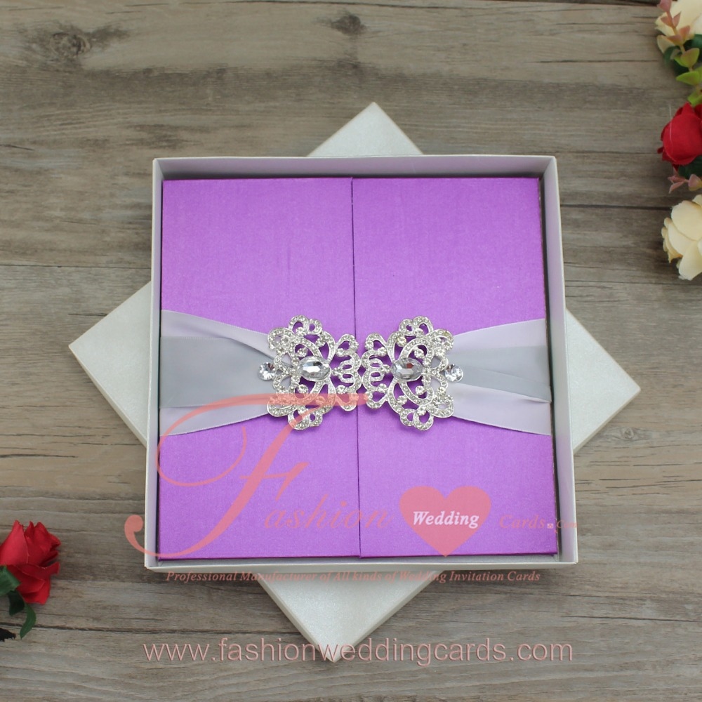 Graceful Purple Gatefold Silk Box Folio Wedding Invitation With Ribbon And Buckle