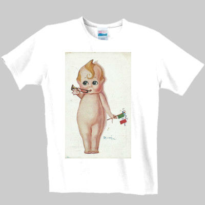 Reproduction image of cupid type doll /baby and flag