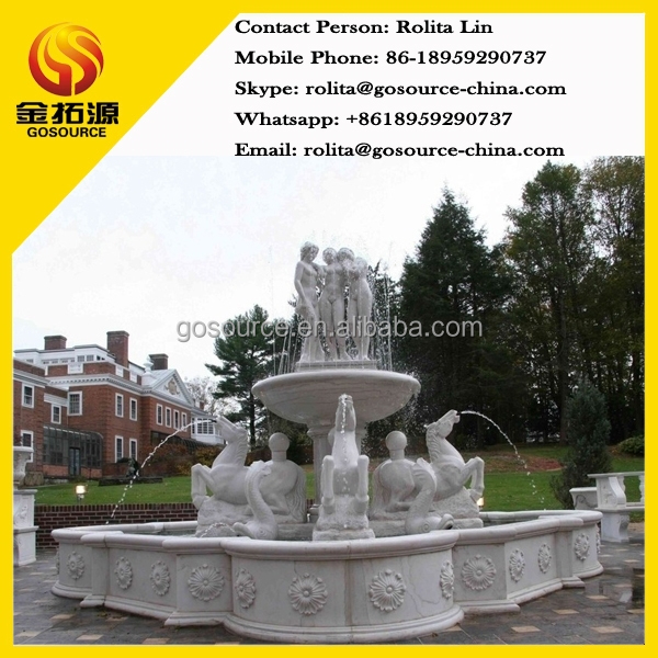outdoor water fountain made of white marble for garden