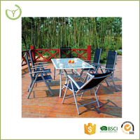 7 position foldable aluminum frame sling chair 7 piece patio garden used tempered glass dining table set