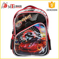 Cool design burning red car picture Polyester material Digital printing children backpack boys high class student school bag