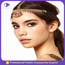 Factory wholesale golden wedding head chain chinese hair accessories