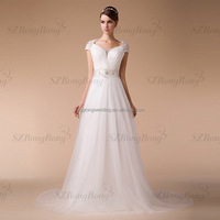 HM96839 New Fashion A-Line Cap Sleeve China Factory See Through Wedding Dress