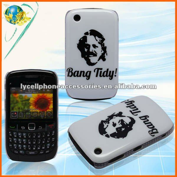 For Blackberry Curve 8520 White&Black IMD Hard Bang Tidy Mobile Phone Case