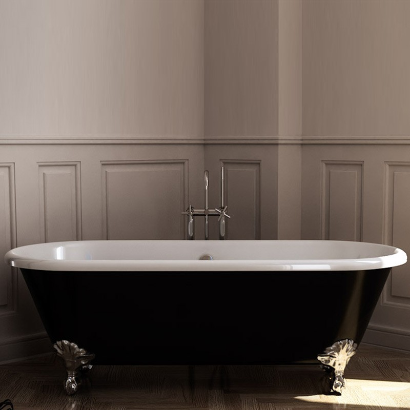indoor enamel cast iron bathtub with deck mount faucet