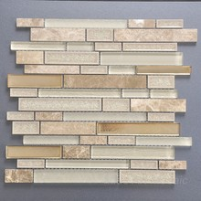 White strip ceramic mosaic tile frosted glass brick pattern mosaic tile A9002