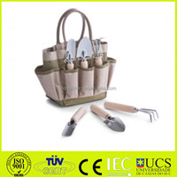 4pcs Garden Tool Sets- three jaw harrow,round shovel, sharp shovel and garden bag 600D