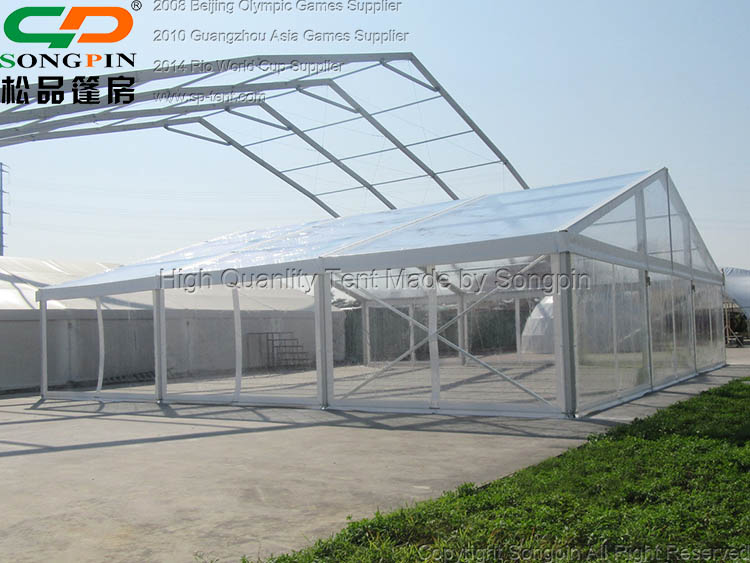 Clear span marquee tent 15X40m with crystal roof and sidewalls for 500 people wedding party events