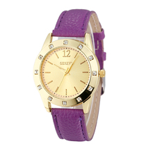 Trendy hot no brand name geneva stainless steel caseback pu leather japan quartz women watch