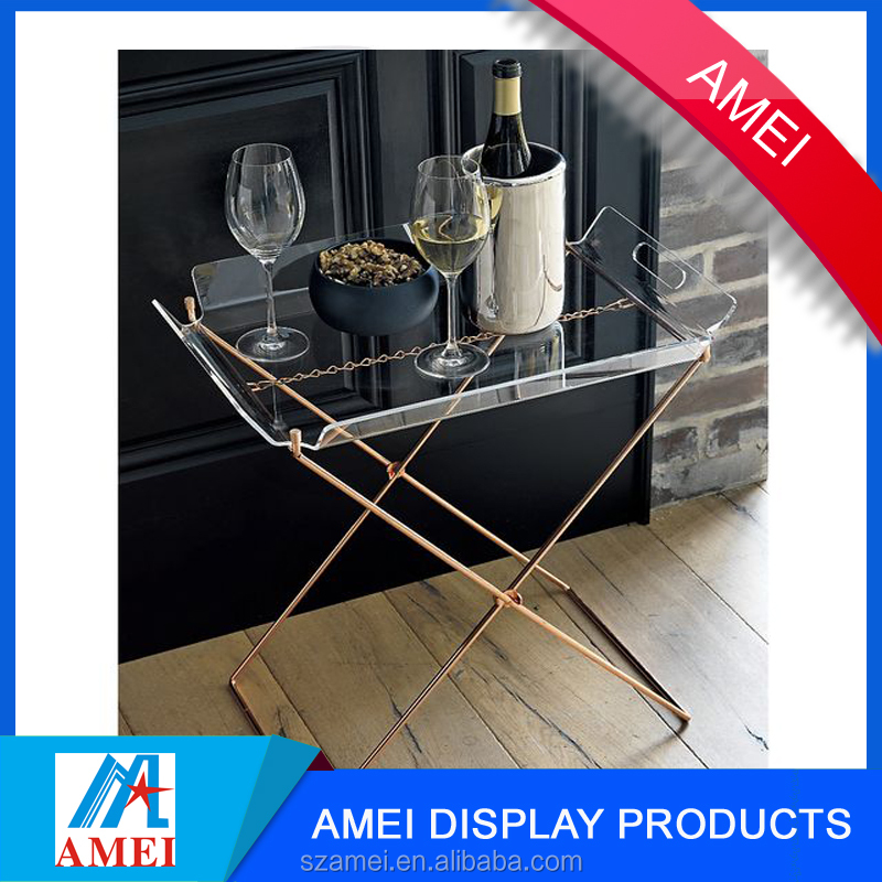 2017 modern acrylic cup holder folding tray table for living room