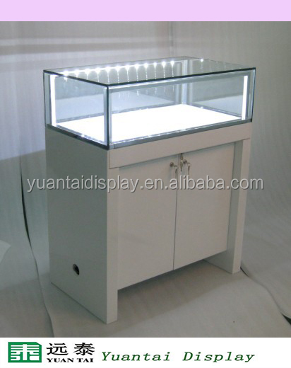 Chinese white wooden cabinet watch furniture with high power led light