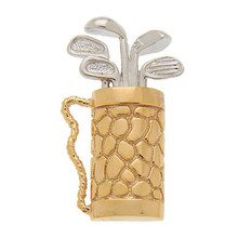 Silver plating golf bag and clubs pendant rope filled charms