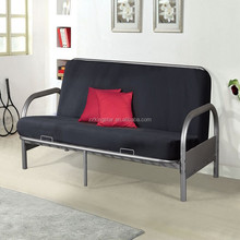 Silver metal Futon frame 3 set Sofa converts to Full size double Bed
