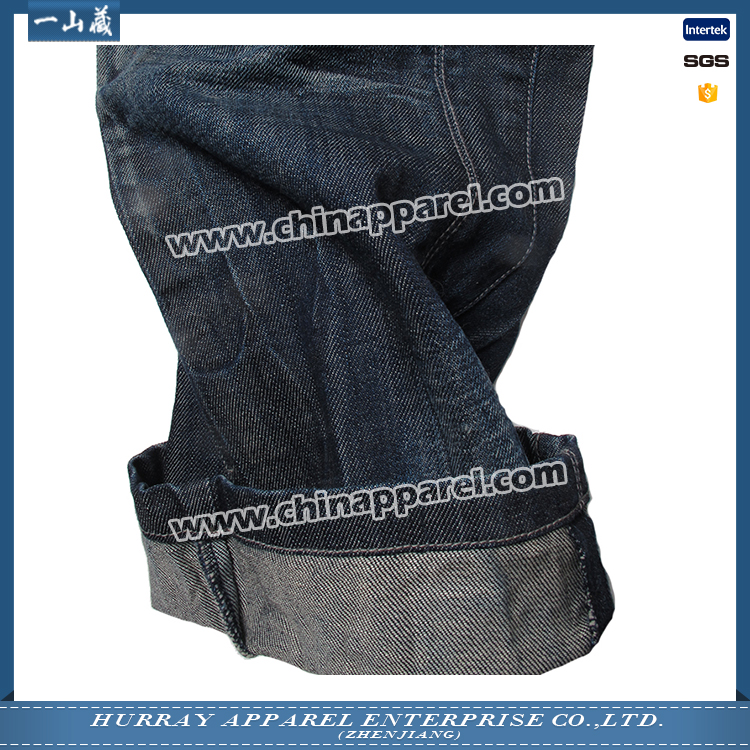 Factory direct sale mens crinkle breathable blue jeans with spraying and whiskers details for promotion
