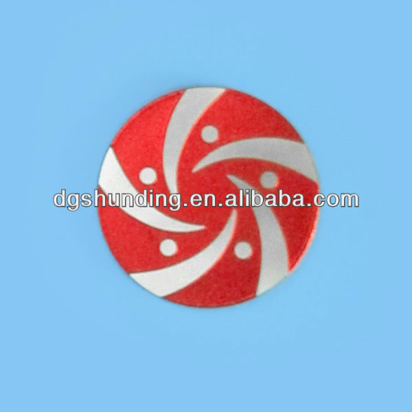 Manufacture debossed company metal brand logo with colored paints filled