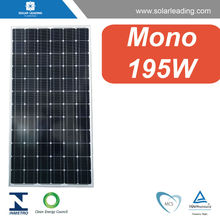 High efficiency 195w sun solar panel with silicon wafer solar cell for grounding solar system