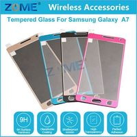 2015 New Premium 9H Mobile Phone Use Full Size Cover Alloy Titanium Tempered Glass For Samsung A7/A700