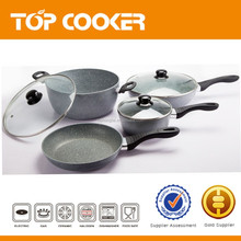 Forged aluminum non stick marble cooking set