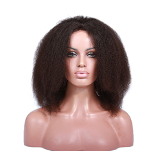 14 inch short human hair natural color afro kinky curly full lace wigs for black women