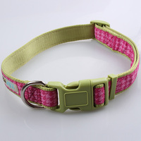 China custom high quality nylon dog collar strap pink direct sale
