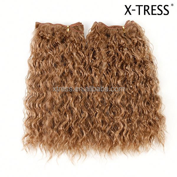 27 strawberry blond Modern style excellent quality long curl high tempreture flame retardant synthetic hair extension weaves