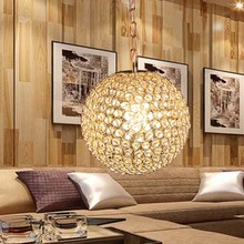Restaurant bedroom lobby ball shape crystal chandelier pendant light