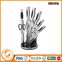 8pcs clever cutter knife in stainless steel handle with TPR outer coating