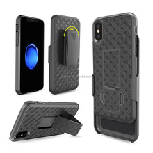 Custom Design Holster Combo Case For iPhone X Hard Black Back PC Cell Phone Case