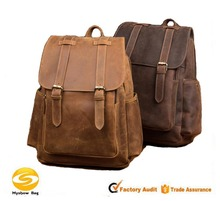 Casual Crazy Horse Genuine Leather Backpack Fashion Bag Retro Backpack For Men