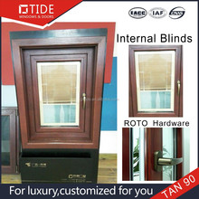 Aluminum&wooden window with inside louvers,windows with blinds