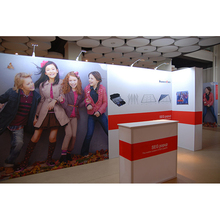 Fabric backdrop stand pop up display in aluminum