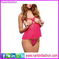 new style hot sale red open cup babydoll hot lingeries extreme