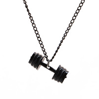 Fashion dumbbell necklace Barbell Necklace With Chain for Men & Women Punk Bodybuilding Gym Fitness Jewelry