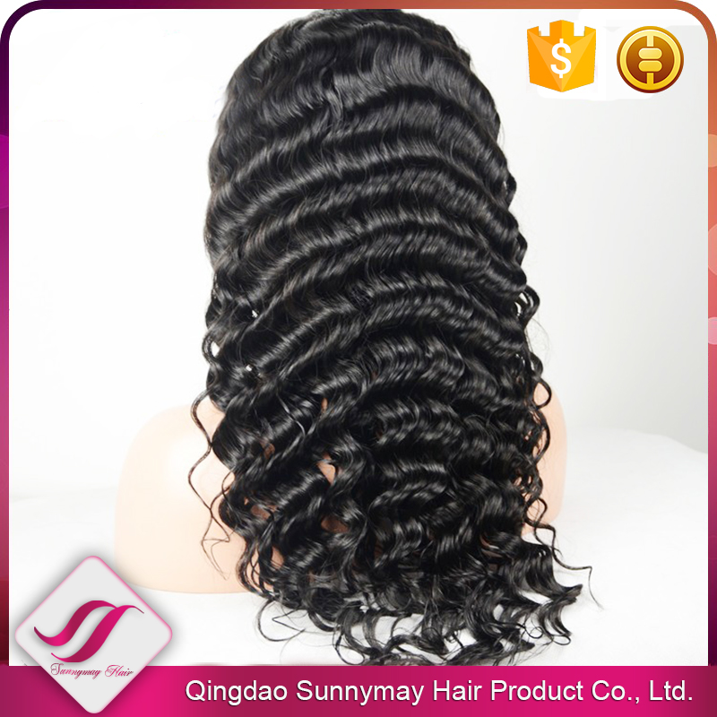 7A Brazilian Virgin Hair Lace Wig 130% Density Bleached Knots 10-30inch In Stock Deep Wave Baby Hair Full Lace Wig