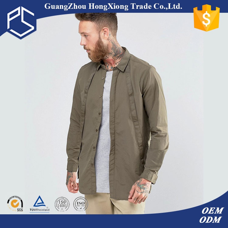 GuangZhou Factory Fashionable Long Sleeve Lapel Neck Polyester Pain Grey Men Pant Shirt New Style