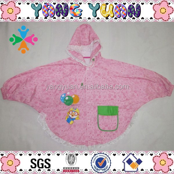Girls Polyester Cartoon Brand Raincoat Poncho with Lace
