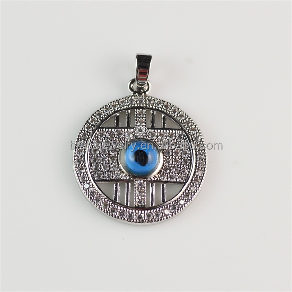 Hot Selling Mirco Zircon Paved Setting Blue Evil Eye Pendant for Necklace