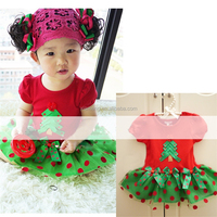 red Christmas dress 1 pcs nature fiber baby christmas clothes