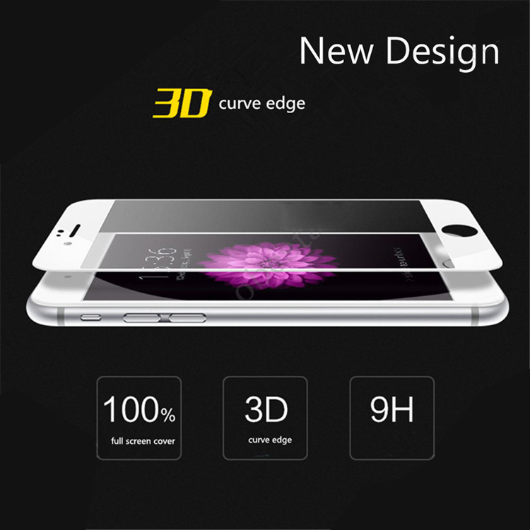 Alibaba cheap 3d curved 9h hardness clear scratch resistant mobile tempered glass screen protector for iphone 6 6s 6 plus 7