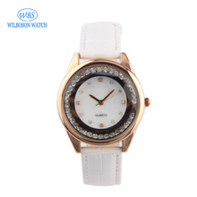 China manufacturers 18mm leather strap ladies diamond watch