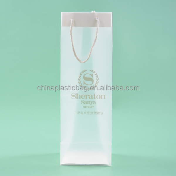 high grade pp material handle clear plastic wine bottle bags(ZZMX0)