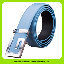 Wholesale Fashion Italian Style Unique Sharp Alloy Buckle Ture Leather Belts for Men 16252