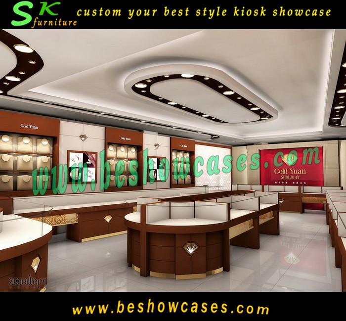 Customized Jewelry Shop Interior Design Store Furniture Display Kiosk
